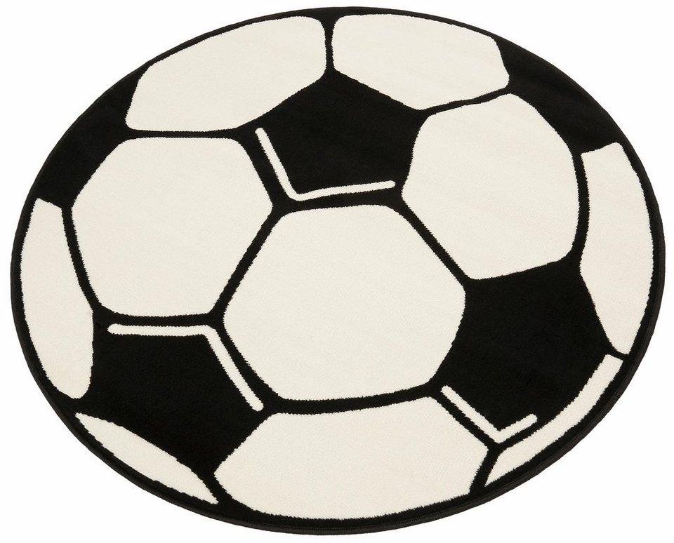 Kinderteppich »Fußball«, Hanse Home, rund, Höhe 10 mm in weiß