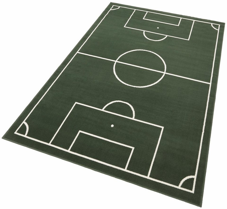 Kinderteppich »Fussballplatz«, Hanse Home, rechteckig, Höhe 9 mm, Fußballplatz-Motiv in grün