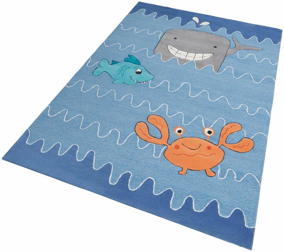 Kinder-Teppich, Esprit, »Sealife«, handgearbeiteter Konturenschnitt, Hoch-Tief-Struktur in blau