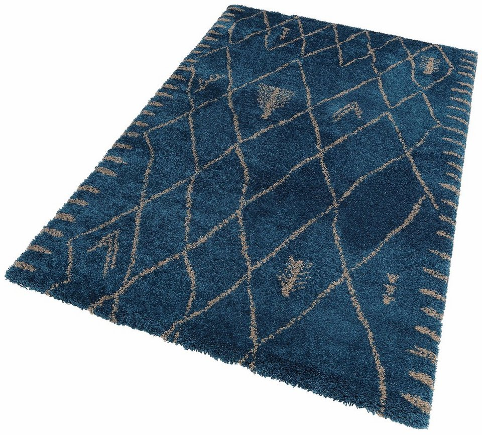 Hochflor-Teppich, Lalee, »Fashion 121«, Höhe 40 mm in Aqua