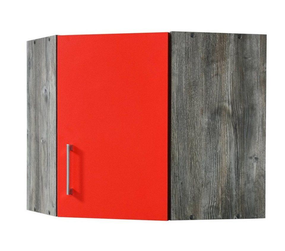 Eck-Hängeschrank »Sevilla«, Breite 60 x 60 cm in rot/eichefarben vintage