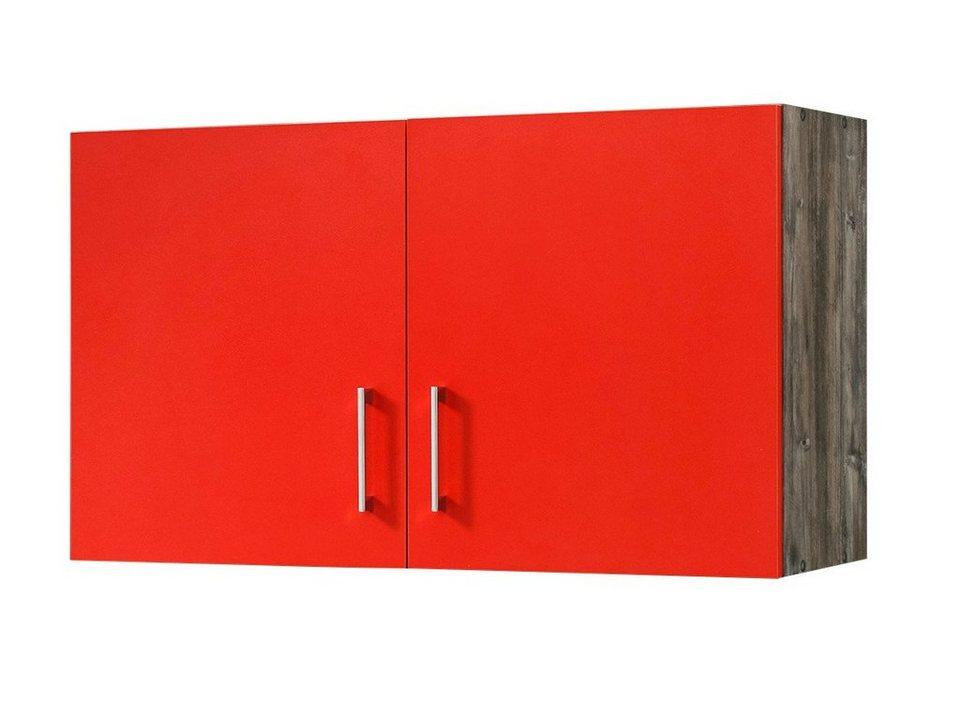 Küchenhängeschrank »Sevilla«, Breite 100 cm in rot/eichefarben vintage