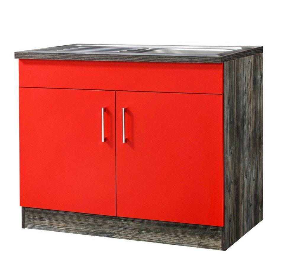 Held Möbel Spülenschrank »Sevilla«, Breite 100 cm in rot/eichefarben vintage