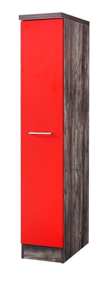 Apothekerschrank »Sevilla«, Höhe 165 cm in rot/eichefarben vintage