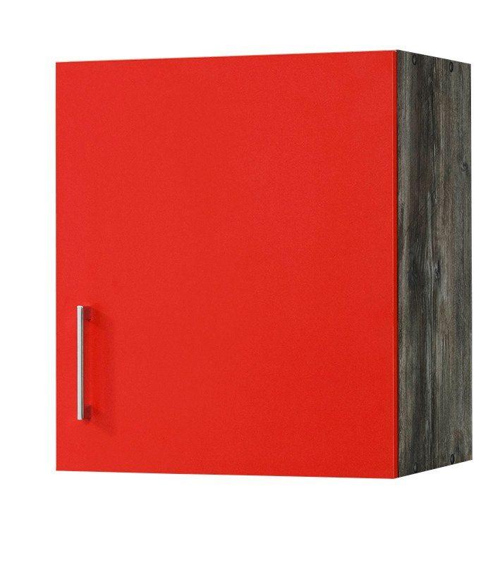 Küchenhängeschrank »Sevilla«, Breite 60 cm in rot/eichefarben vintage
