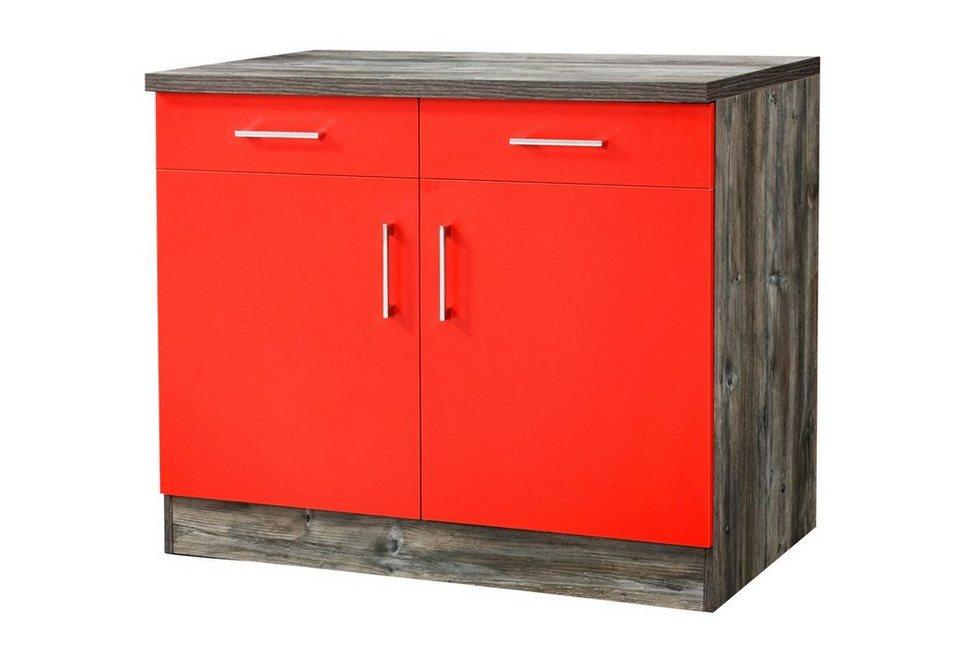Küchenunterschrank »Sevilla«, Breite 100 cm in rot/eichefarben vintage