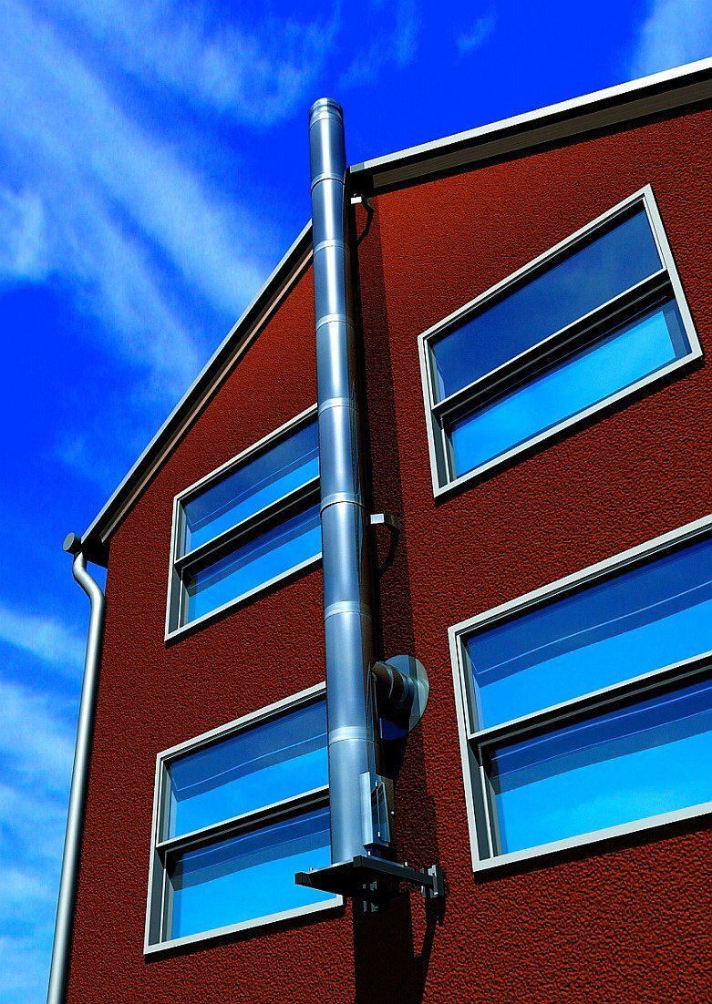 Schornstein »Edelstahl-Set Eco«, Ø 150 mm,Außenwandmontage Abstand bis zu 237 mm