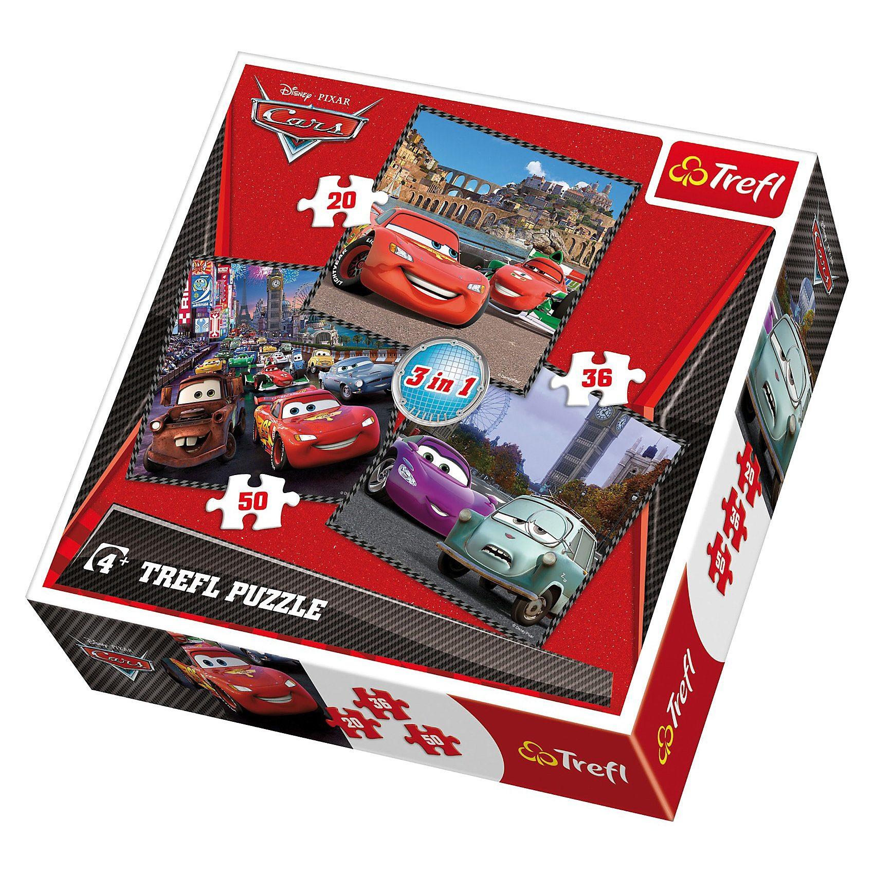 Trefl Puzzle-Set 3in1 - 20/36/50 Teile - Cars