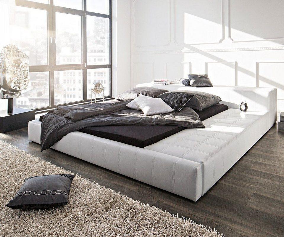delife doppelbett edina weiss 180x200 gepolstert. Black Bedroom Furniture Sets. Home Design Ideas