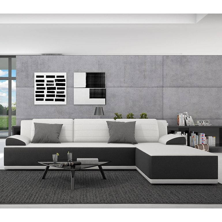 innocent ecksofa mit schlaffunktion aus kunstleder schwarz wei e sitzfl kiro online kaufen otto. Black Bedroom Furniture Sets. Home Design Ideas