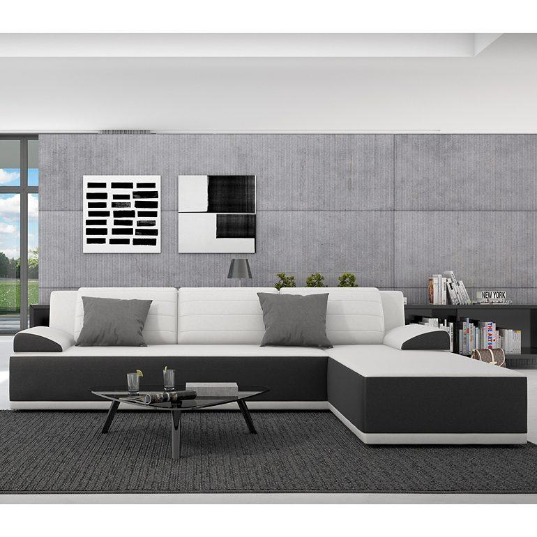 Innocent Ecksofa mit Schlaffunktion aus Kunstleder schwarz weiße Sitzfl »Kiro«