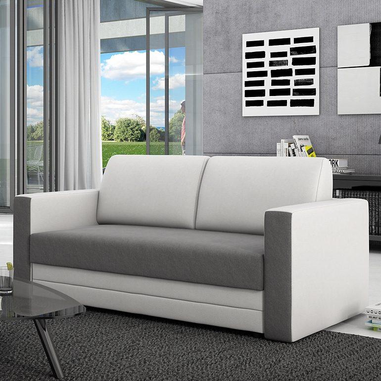 Innocent Schlafsofa 120 cm aus Textil grau und Kunstleder weiß ausziehbar »Brandson«