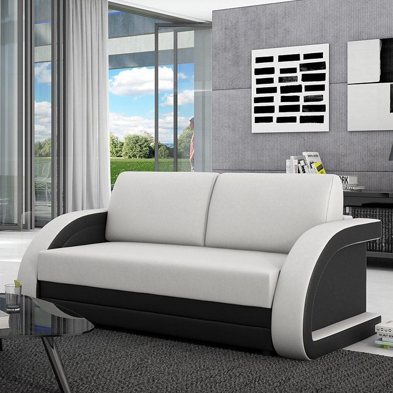 Innocent Schlafsofa 120 cm aus Kunstleder weiß schwarz runde Lehnen auszi »Aracne«