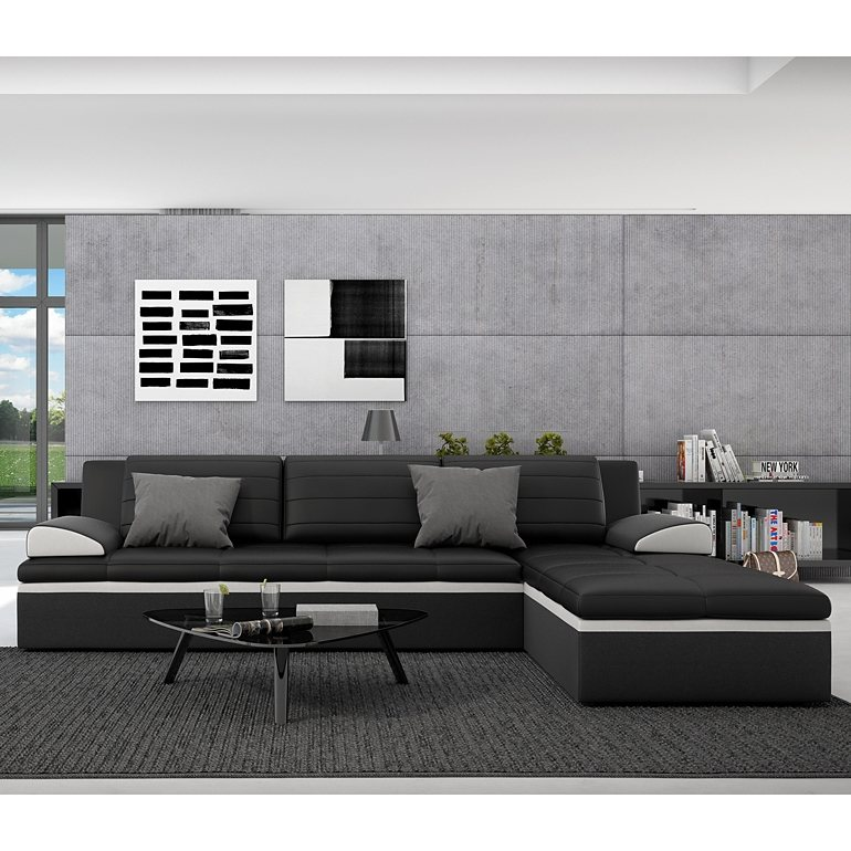 innocent ecksofa mit schlaffunktion aus kunstleder schwarz mit wei er kon averda online kaufen. Black Bedroom Furniture Sets. Home Design Ideas