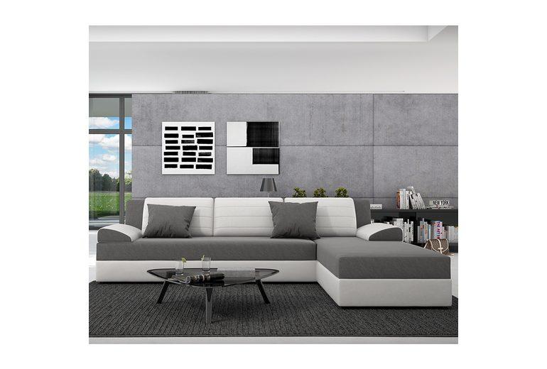 Innocent Ecksofa mit Schlaffunktion aus Kunstleder weiß und Sitzfläche Te »Rasasy«
