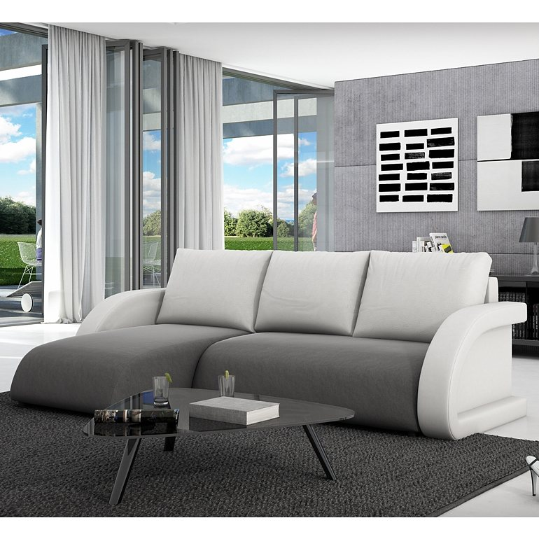 innocent ecksofa mit schlaffunktion textil grau kissen aus. Black Bedroom Furniture Sets. Home Design Ideas