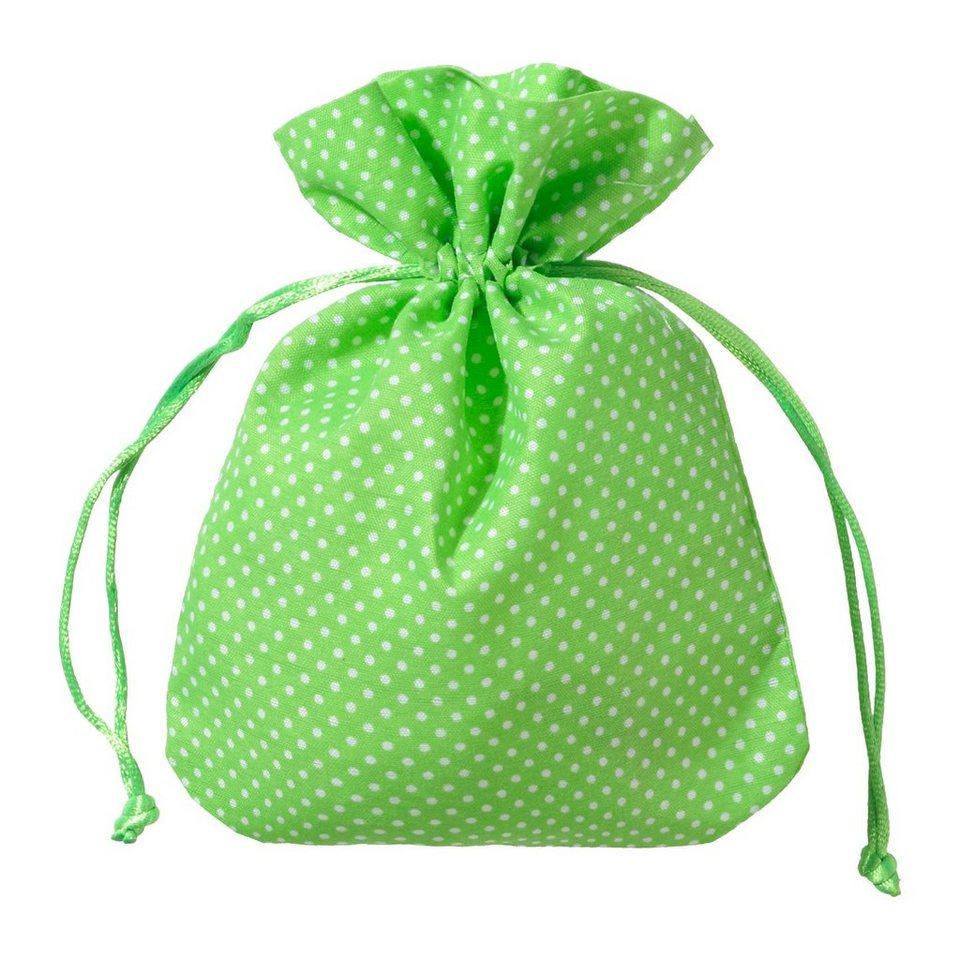 Hotex Stoffbeutel 13 x 18 cm Punkte grün, 12 Stück