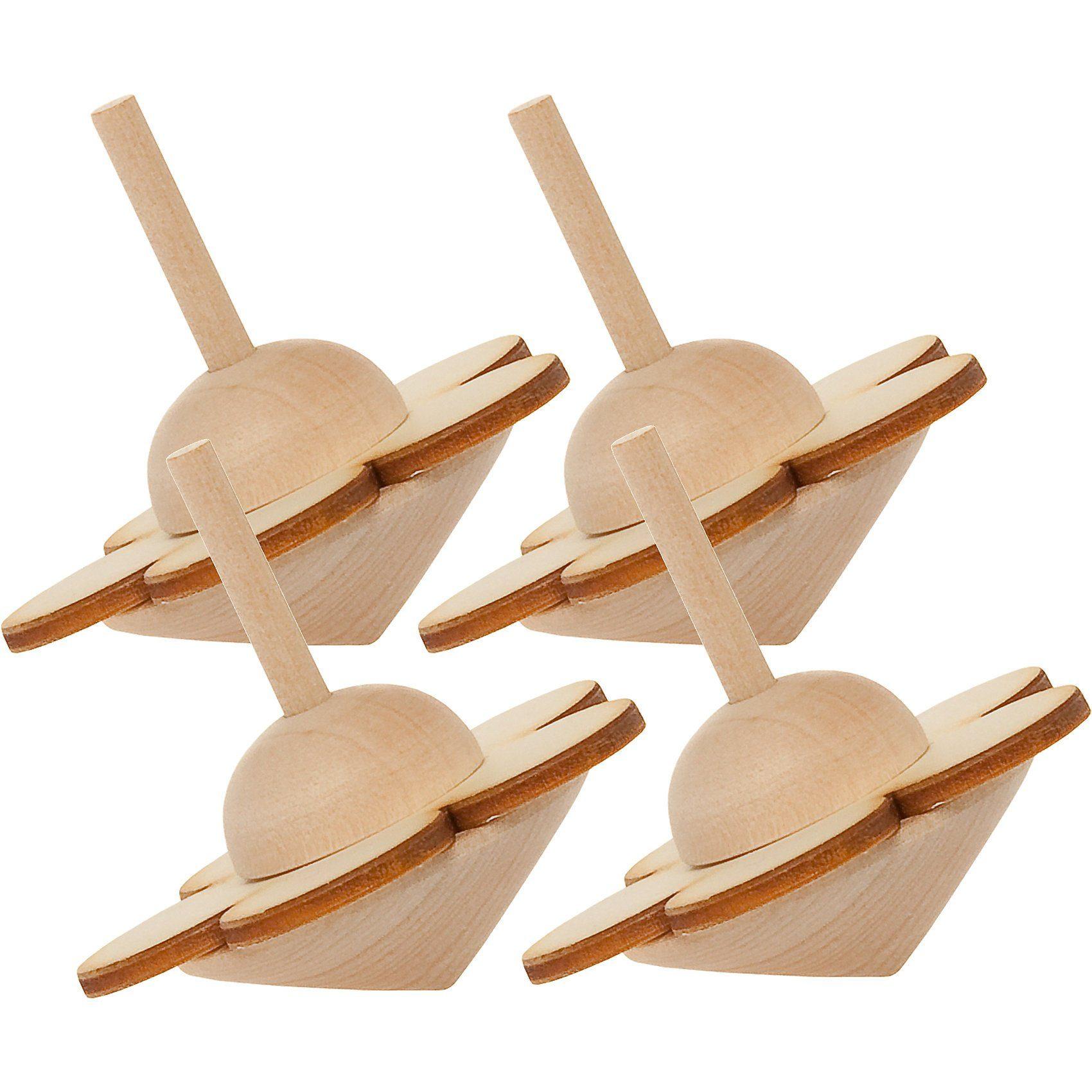 SUNNYSUE Kreisel Holz Blume zum Basteln und Gestalten, 4 Stück