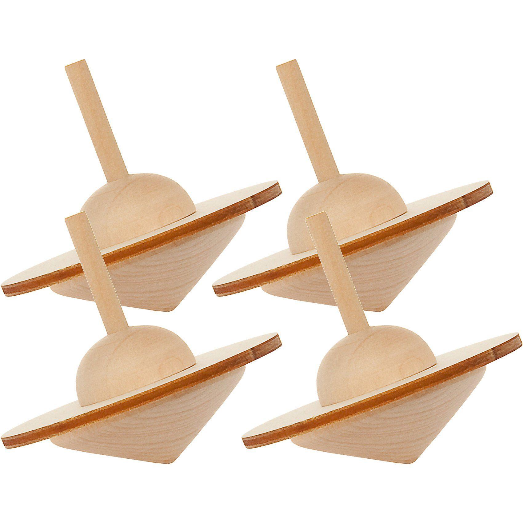SUNNYSUE Kreisel Holz zum Basteln und Gestalten, 4 Stück