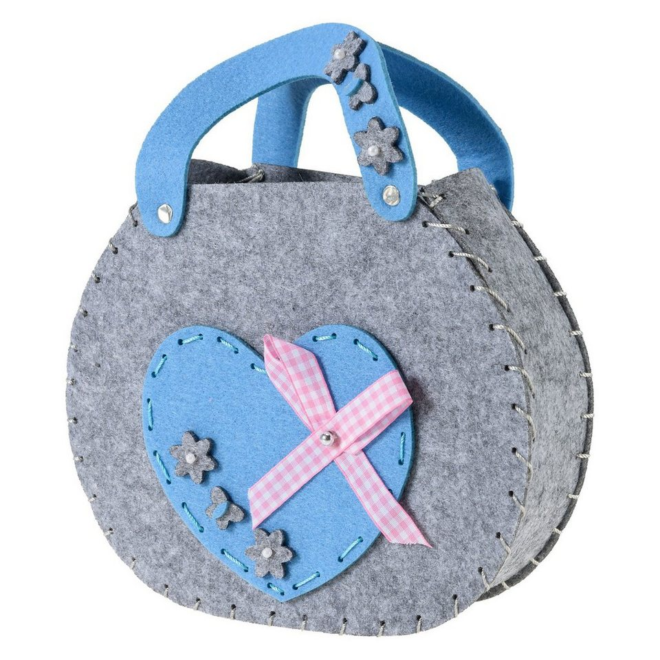 prohobb Kreativset Filztasche Herz blau/grau