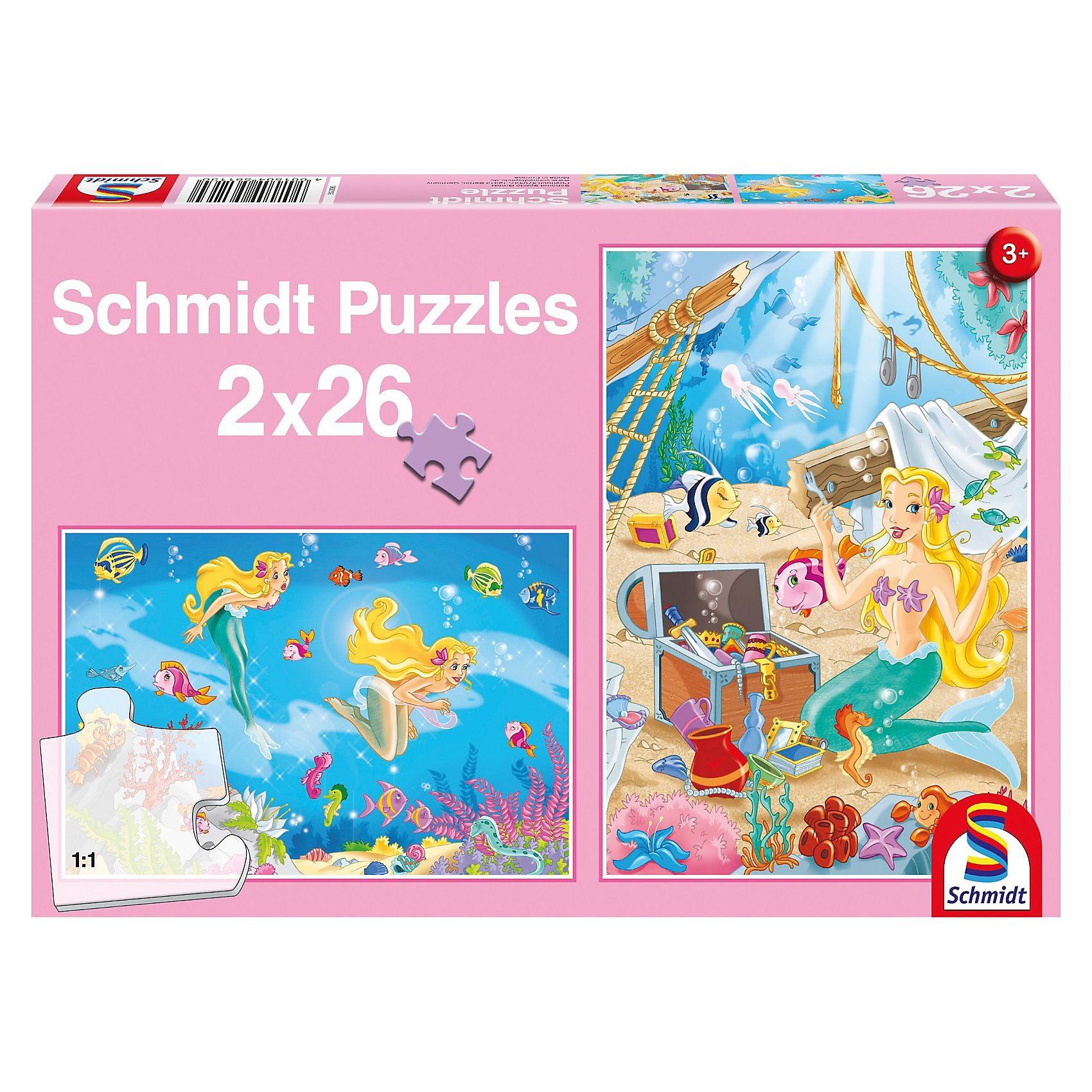 Schmidt Spiele Puzzle Set 2 x 26 Teile - Die kleine Meerjungfrau
