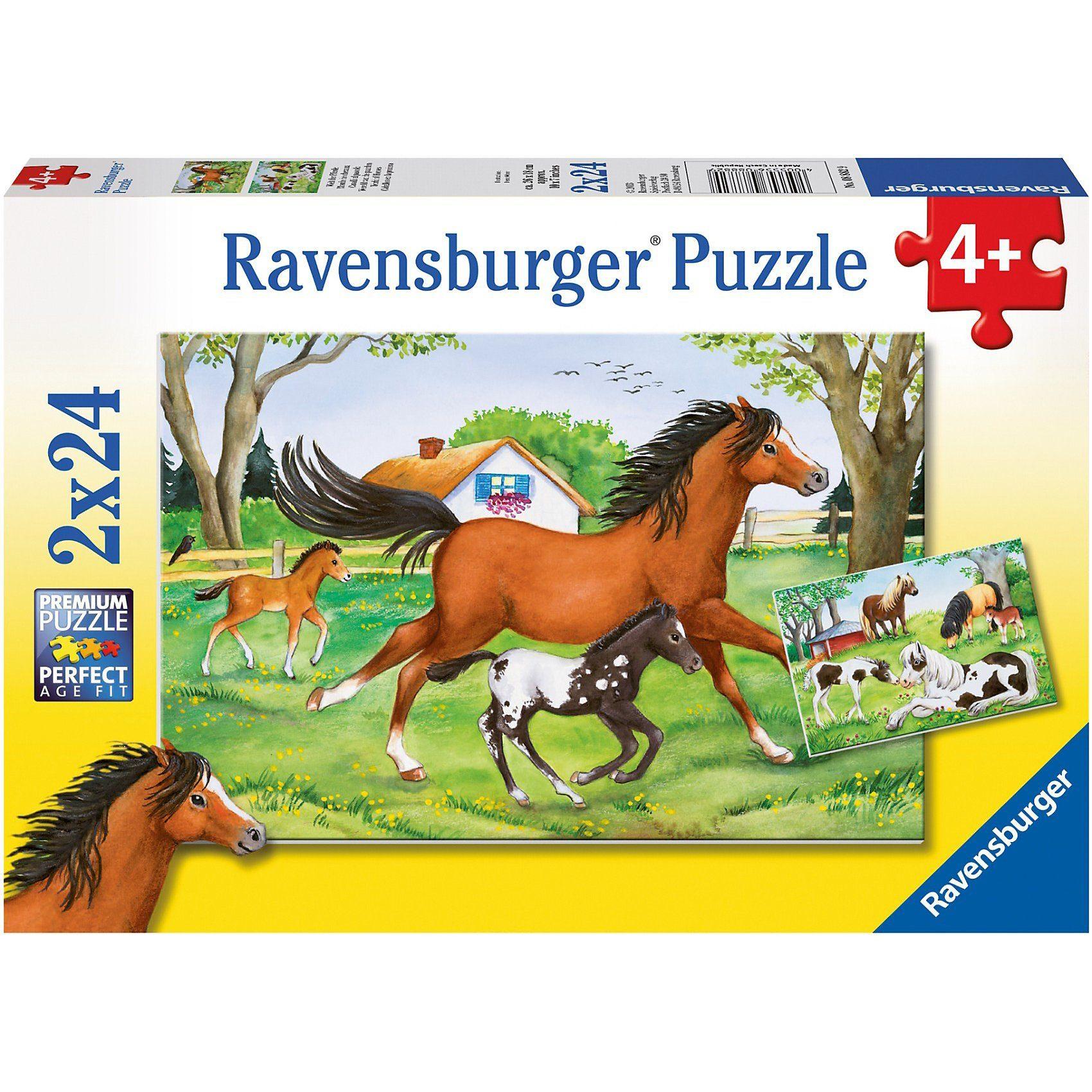 Ravensburger 2er Set Puzzle, je 24 Teile, 26x18 cm, Welt der Pferde