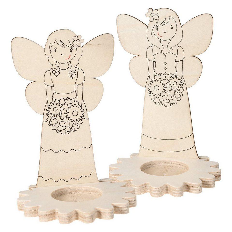 SUNNYSUE Teelichthalter Holz Elfe zum Selbstgestalten