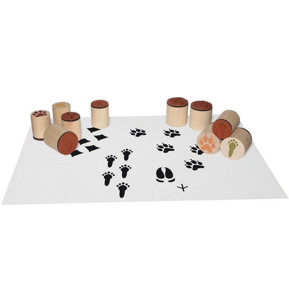 SUNNYSUE Mini-Holzstempel Tierspuren, 10 Stück