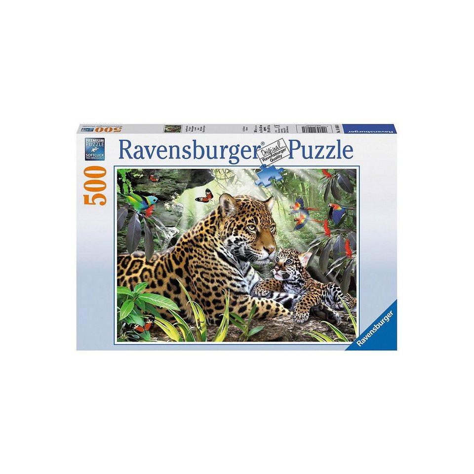 Ravensburger Puzzle 500 Teile, 49x36 cm, Jaguar Nachwuchs online kaufen