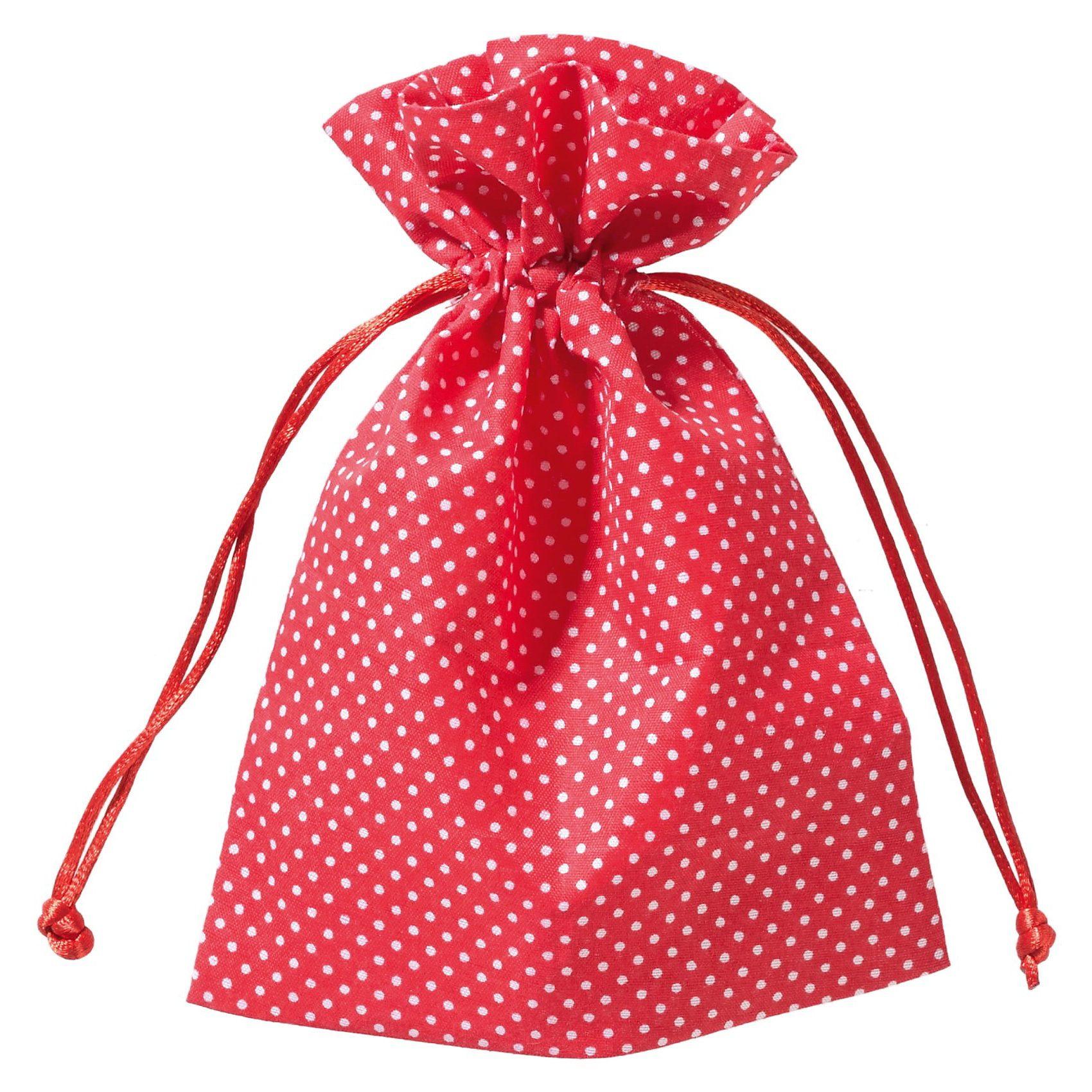 Hotex Stoffbeutel 13 x 18 cm Punkte rot-weiß, 12 Stück