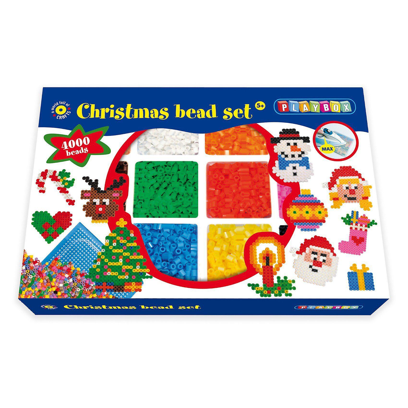 Playbox Bügelperlenset Weihnachten, 4.000 Perlen & Zubehör