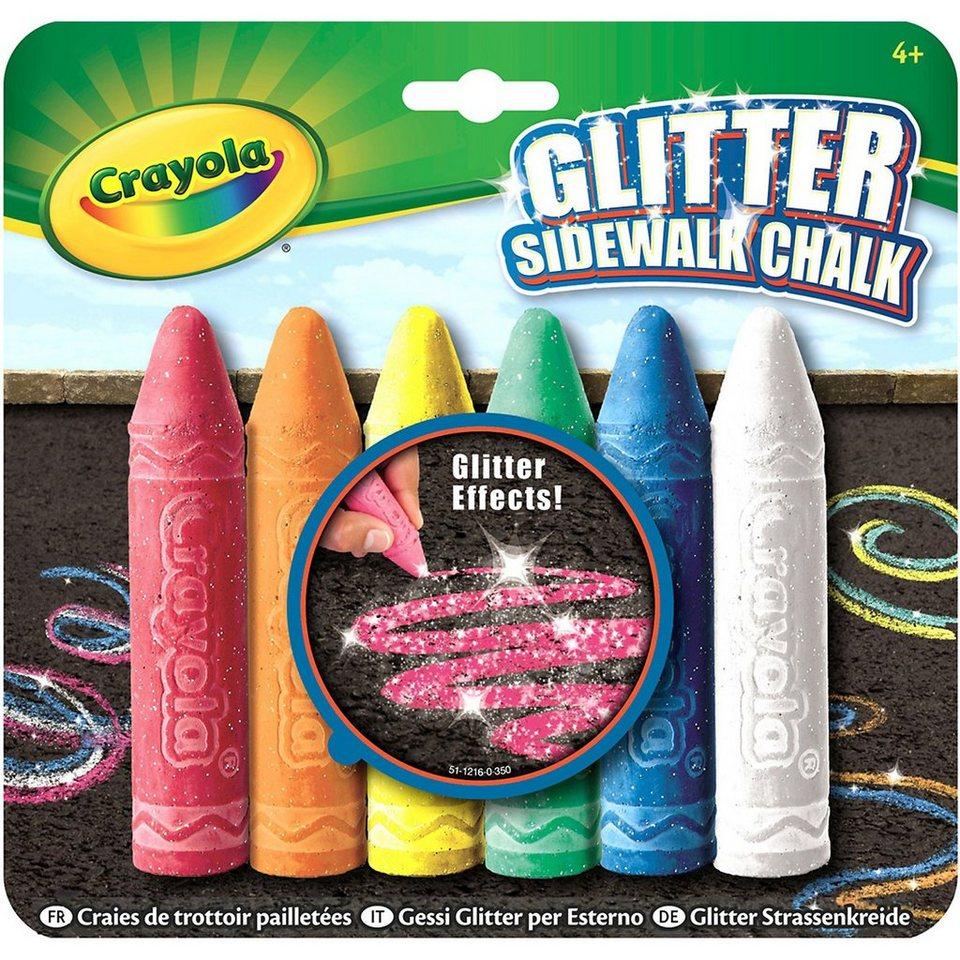 Crayola Straßenkreide Glitter, 6 Farben