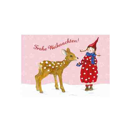 Grätz Verlag Grußkartenset Pippa & Pelle feiern Weihnachten, 5 Stück