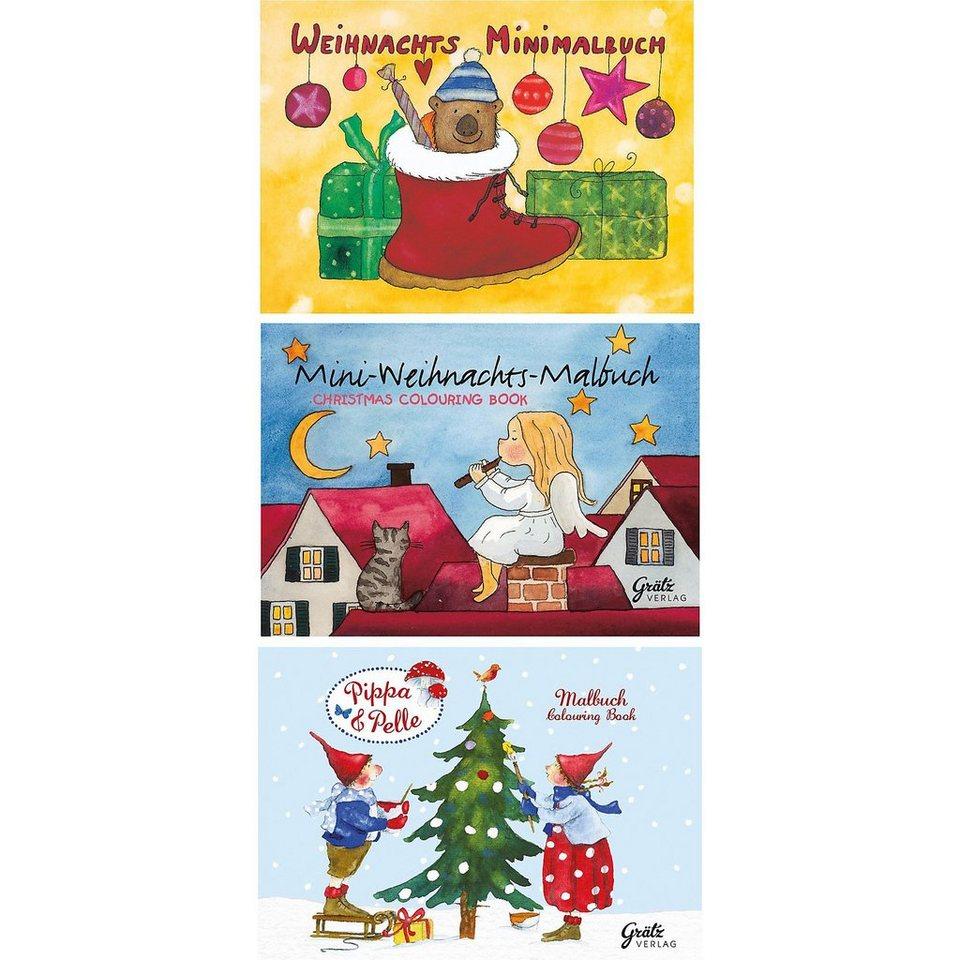 Grätz Verlag Mini-Malbuch Weihnachten, 3 Stück   OTTO