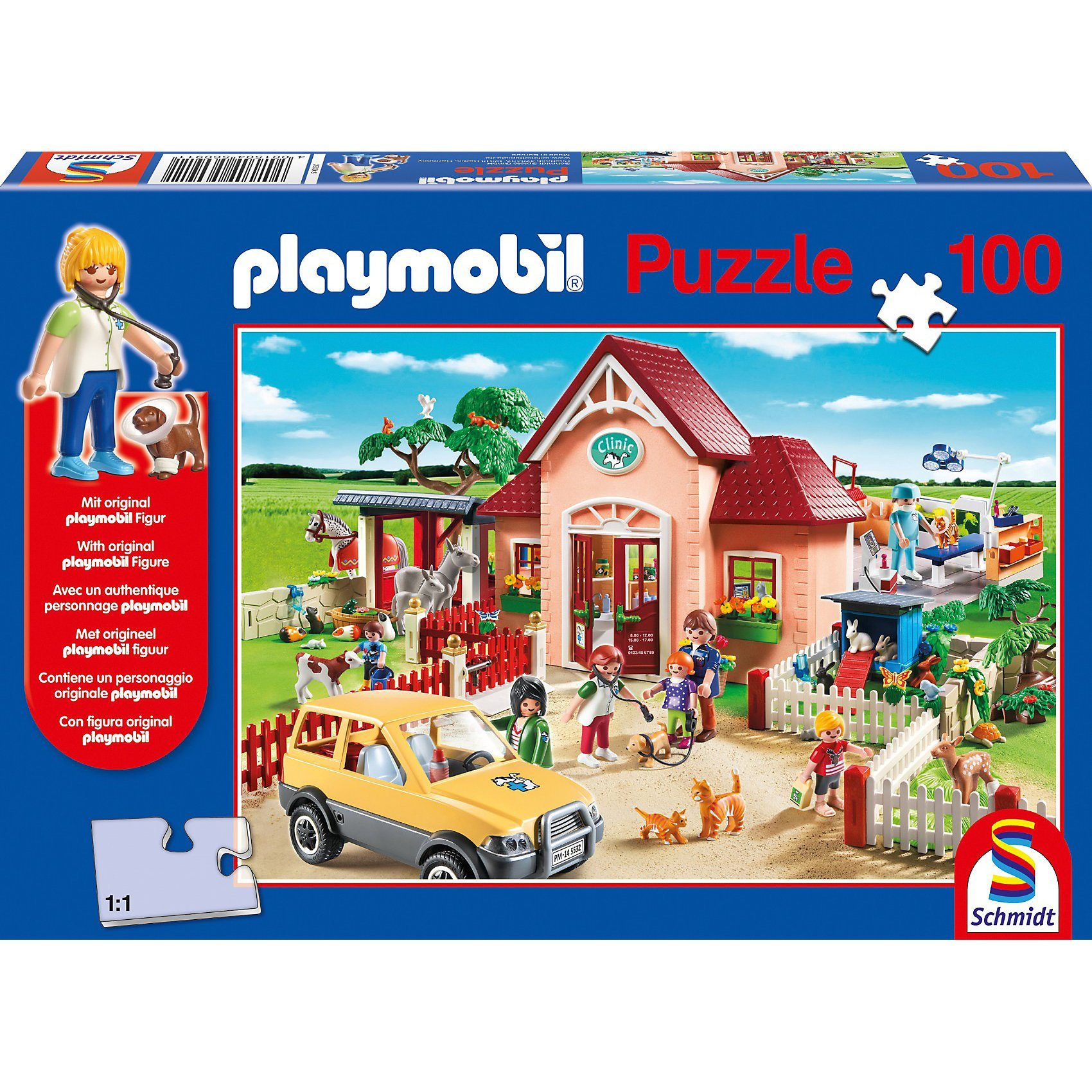 Schmidt Spiele Playmobil, Tierarztpraxis, 100 Teile, mit Original Figur