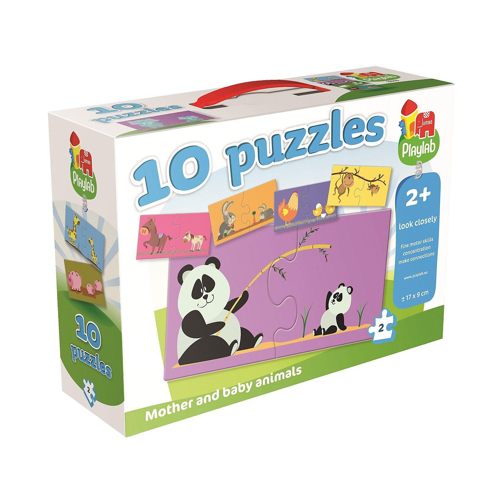 Jumbo Playlab - 10in1 Puzzle - Tiermütter & -kinder - 10x2 Teile