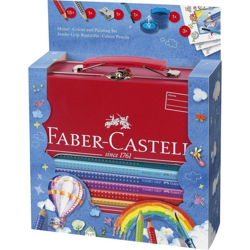 Faber-Castell JUMBO GRIP Malset für Unterwegs, 25-tlg., Metallkoffer
