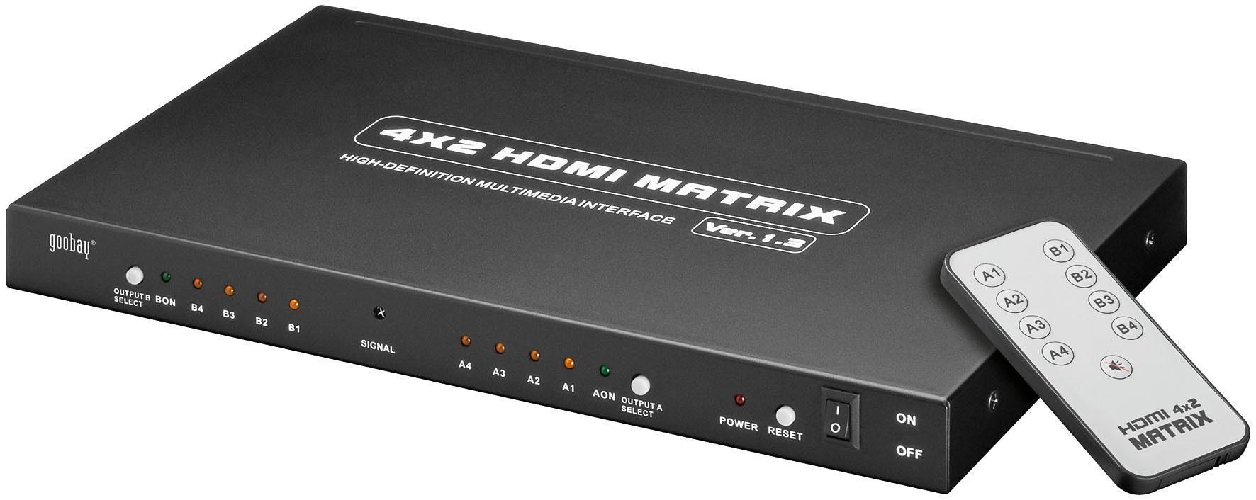 goobay HDMI Matrix 4 x 2 »Übertragung von 4 HDMI Signalen auf 2 TVs«