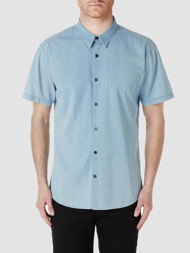 Selected Slim-Fit- Kurzarmhemd in Light Blue