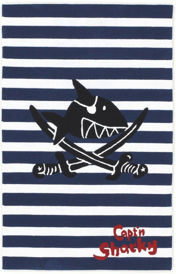Kinder-Teppich, Capt'n Sharky, »SH-2361-01«, handgetuftet, Konturenschnitt in blau