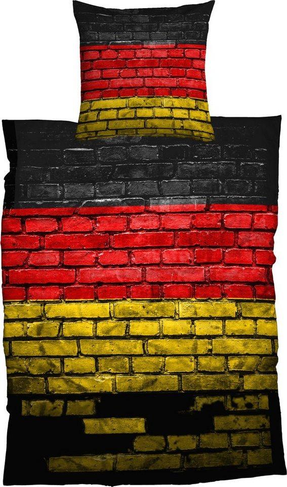 Bettwäsche, Casatex, »German Flag«, Steinmauer-Optik in multi