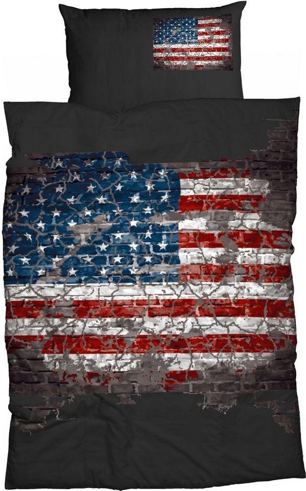 Bettwäsche, Casatex, »American Flag«, mit Flaggenmotiv in anthrazit
