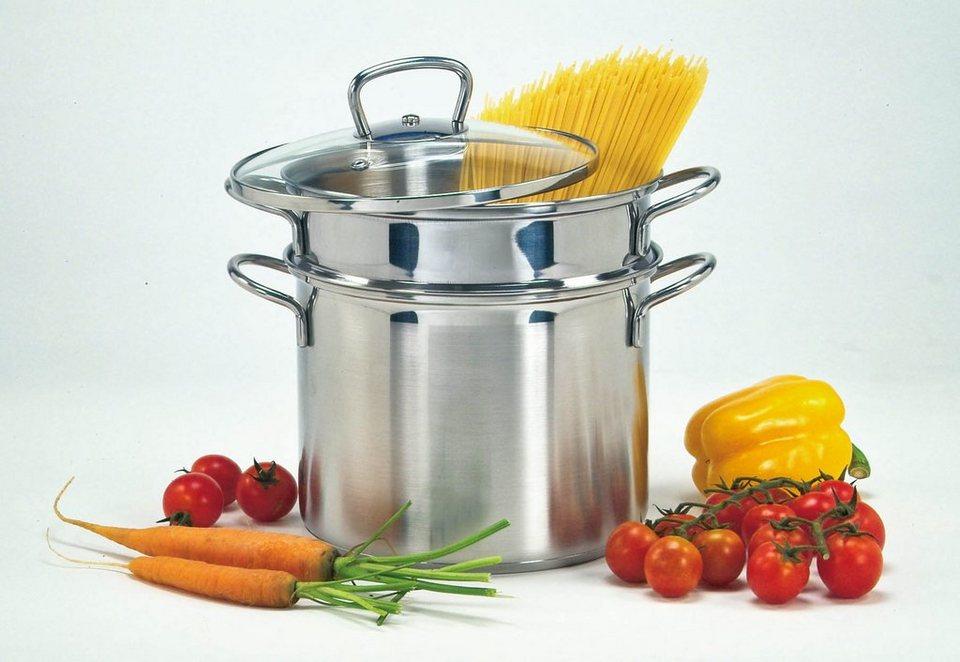 Edelstahl Spaghettitopf, Krüger, Ø 24 cm in silberfarben
