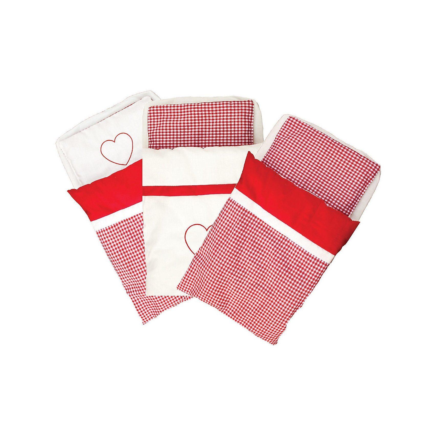 Eitech Puppenbett Bettgarnitur rot/weiß