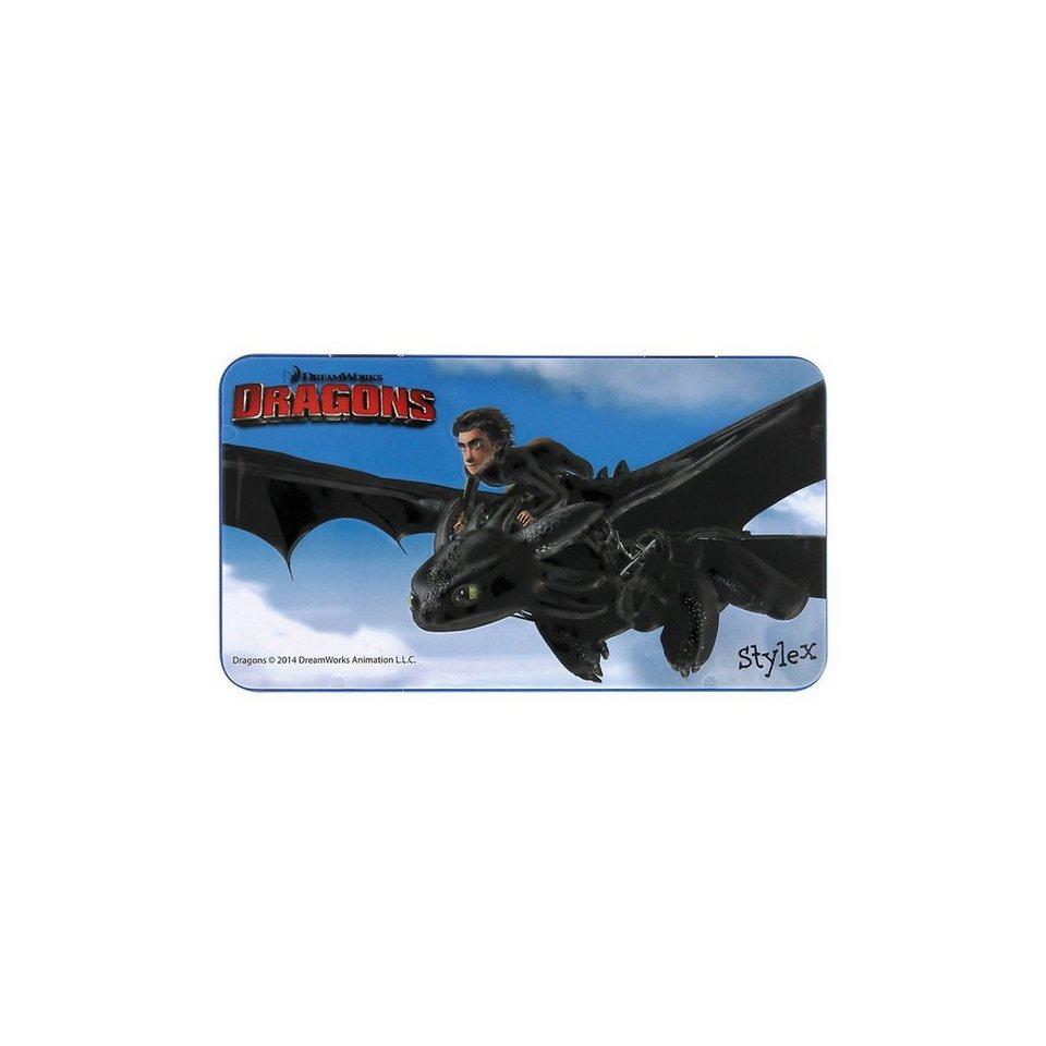 Stylex Jumbo-Farbstifte Metallbox Dragons, 8-tlg., sortiert