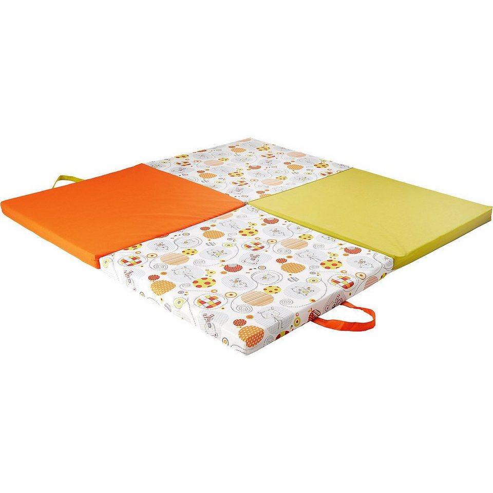 candide Spiel- und Reisematratze mit Tragetasche, orange/grün in orange