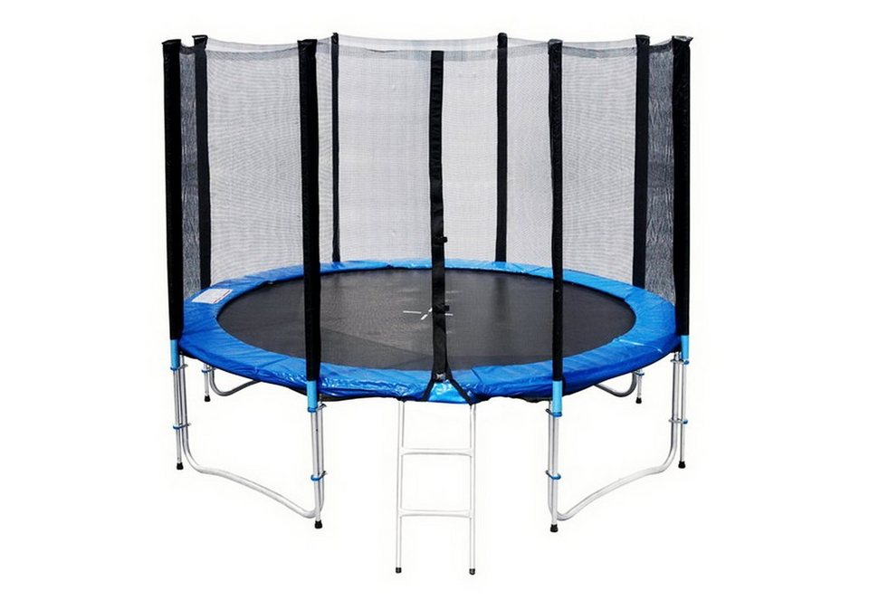 joka fit trampolin 305 cm mit faltbaren sicherheitsnetz und leiter blau schwarz online. Black Bedroom Furniture Sets. Home Design Ideas