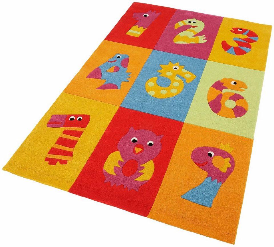 Kinder-Teppich, Theko, »Dhanbad«, handgearbeitet in bunt