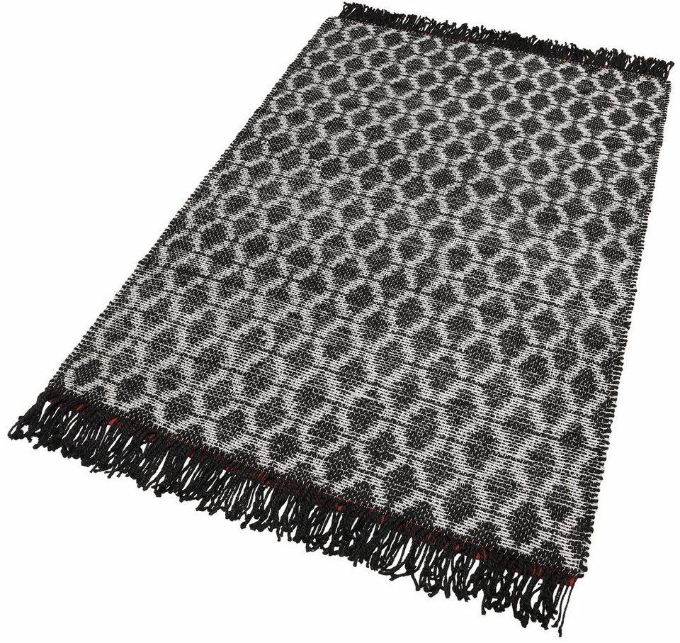 Teppich, Theko, »Silverstar«, handgewebt in schwarz
