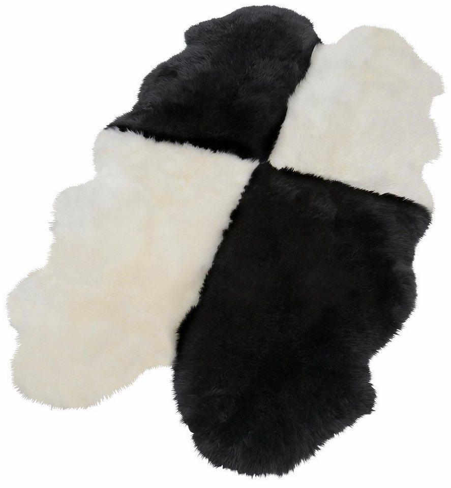 Fell-Teppich, Trend Teppich, »Fell-Schach«, echtes Lammfell in schwarzweiss